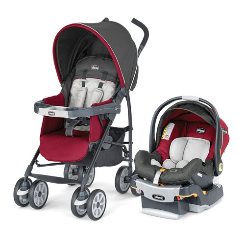 Chicco Neuvo Travel System granita - stroller and KeyFit 30 Infant Car Seat - dark gray with deep ruby red - Granita