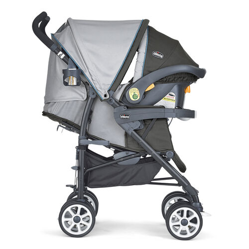 Chicco Neuvo Stroller and KeyFit 30 Infant Car Seat come together to form the Chicco Nuevo travel system vapor with extended canopy