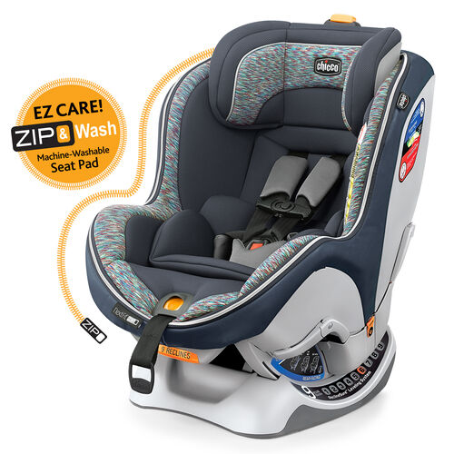 the nextfit zip convertible car seat by Chicco offers an harness management system and easy zip our soft goods.
