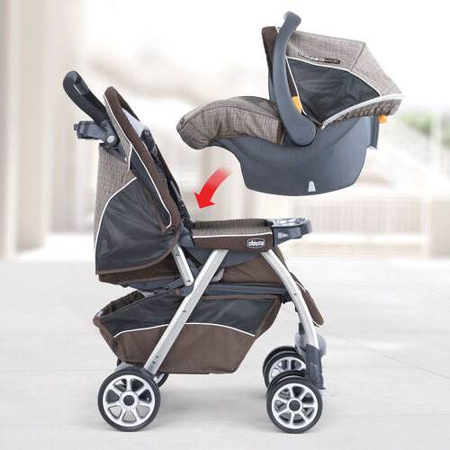 The KeyFit 30 Magic Infant Car Seat clicks in to the Cortina Magic Stroller for a convenient travel system