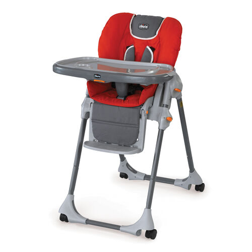Chicco Polly Highchair Fuego - bright red with gray accents
