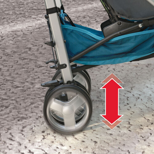 Rear wheel suspension on the Chicco Liteway Plus Stroller provides a smooth ride for your child