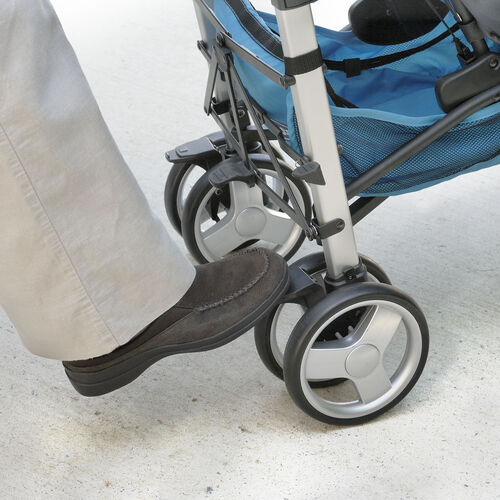 Foot-activated parking brakes on the rear wheels of the Liteway Plus Stroller