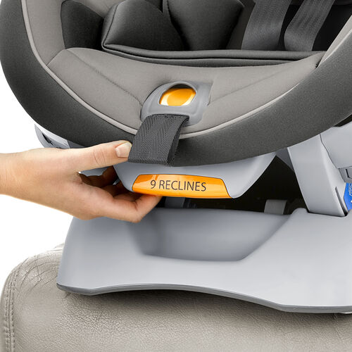 Recline adjustment handle on front of NextFit Convertible Car Seat Gravity