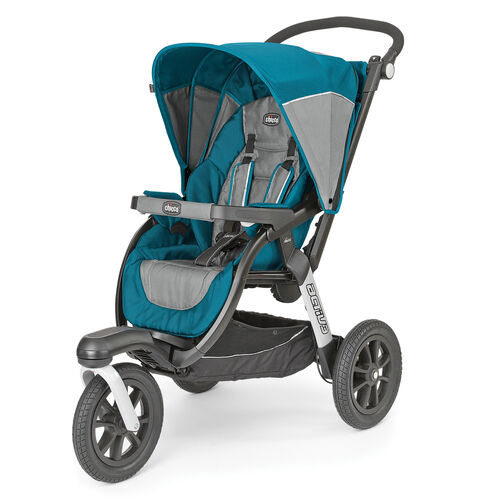 Chicco Activ3 Jogging Stroller in aqua blue and gray - Polaris