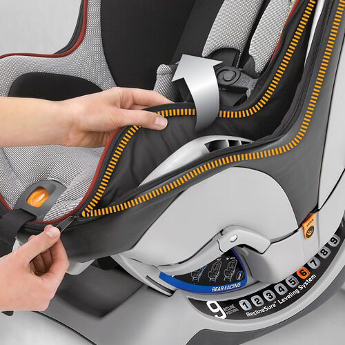 The NextFit Zip Convertible Car Seat includes zip-out seat padding that is machine-washable