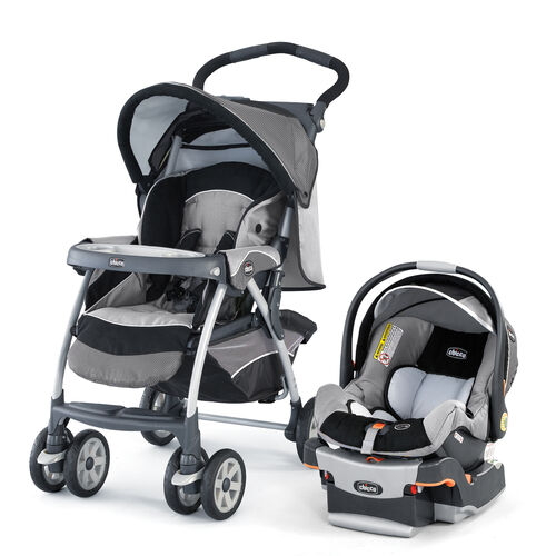 Chicco Cortina Stroller and KeyFit 30 Infant Car Seat and Base - Cortina KeyFit 30 travel system graphica - dark gray and light grey