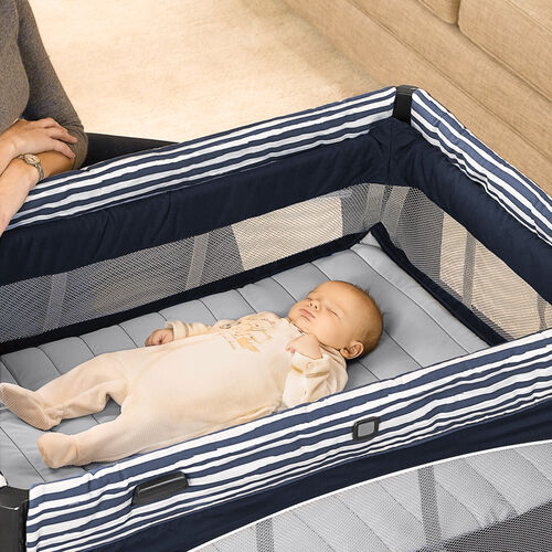When baby needs more space, the Chicco Lullaby Baby Playard Vivid has a raised bassinet insert