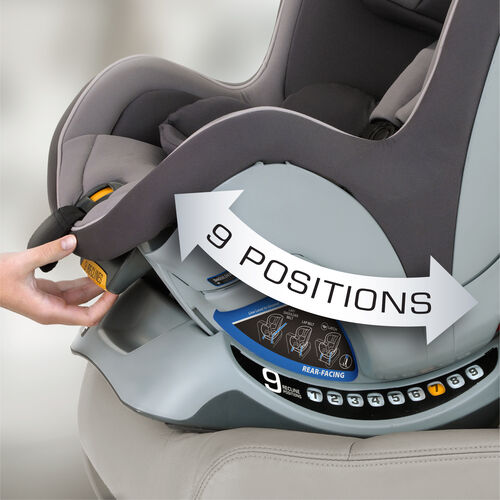 The NextFit Convertible car seat has 9 different recline options for a better fit in a wider variety if vehicles
