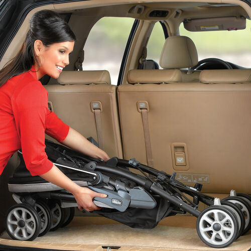 The Neuvo Stroller's compact 3D fold allows it to easily fit in your vehicle for transport