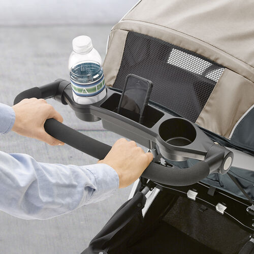 The Bravo features a convenient storage tray for parents