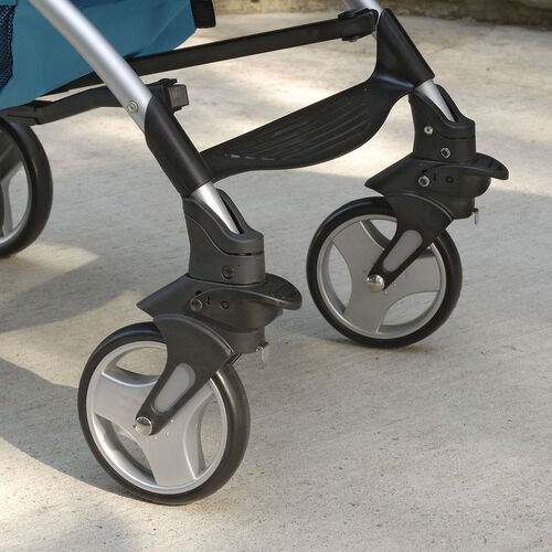 Front swivel wheels on the Liteway Plus Stroller allow for precision maneuverability