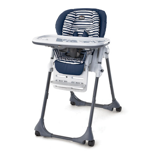 Chicco Polly Double Pad Highchair in navy blue with blue and white striped insert - Equinox Fashion