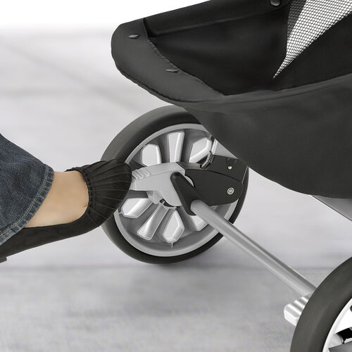 It's easy to lock the wheels on the Bravo Travel System