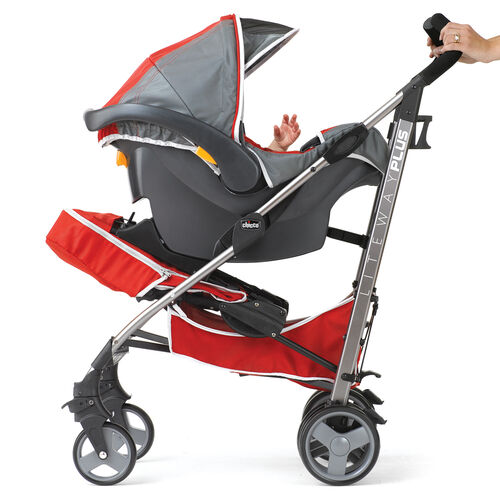 The Liteway Plus Lightweight Stroller accepts the KeyFit or KeyFit 30 Infant Car Seat