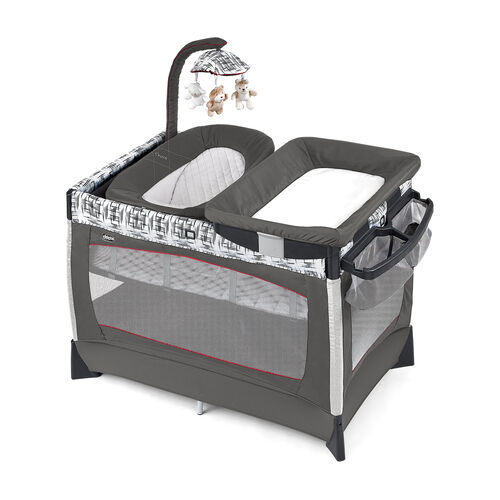 Chicco Lullaby Baby Playard Vivid - gray with black and white crosshatch pattern and red piping