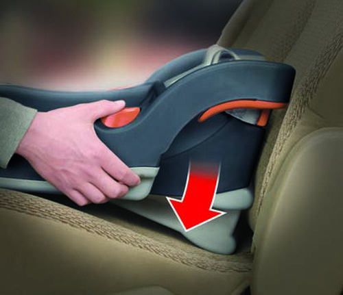 a spring-loaded foot on the KeyFit 30 Infant Car seat base ensures a proper angle of installation in your car