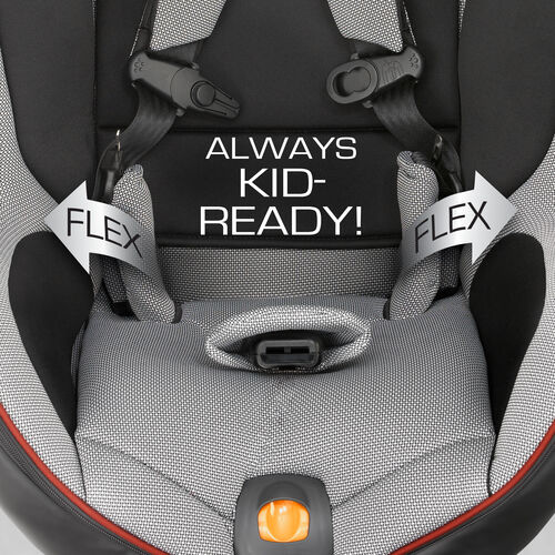 The NextFit Convertible Car Seat is always kid-ready with flexible harness that stays in place