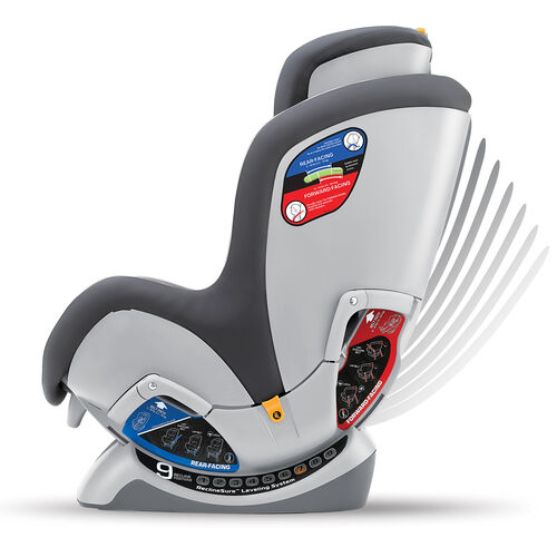 Recline the NextFit convertible car seat up for forward-facing position