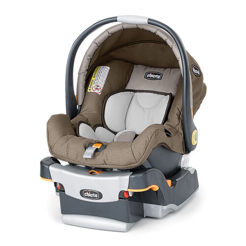 Chicco KeyFit Infant Car Seat Chevron and Base in tan beige with a subtle gold chevron pattern
