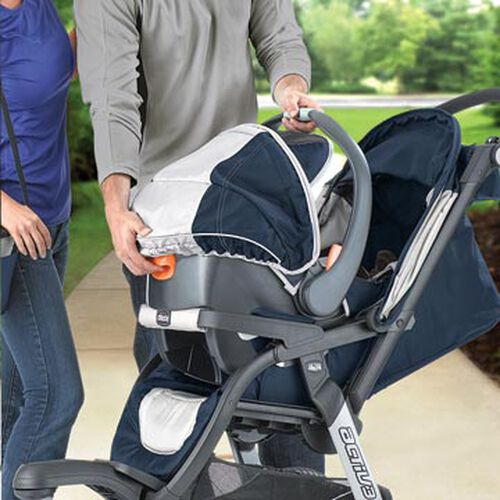Chicco KeyFit 30 Infant Car Seat clicks in to removable bumper on the Activ3 Jogging Stroller