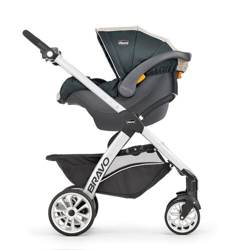 the Bravo stroller features a removeable for easy transition into carrier mode