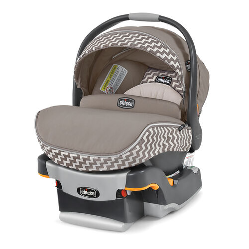 Chicco KeyFit 30 Zip Infant Car Seat and Base in tan and beige chevron pattern - Singapore Fashion