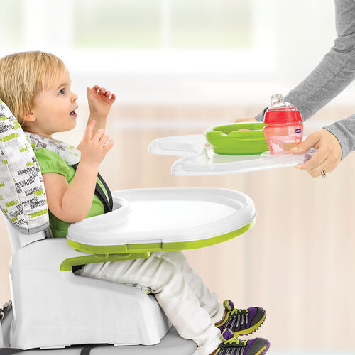 The Stack Highchair by Chicco features a one-hand easy to snap on tray with removable tray liner