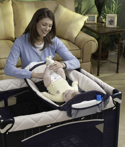 The Lullaby Playard SE includes a bassinet and changing table for smaller babies