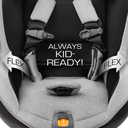 With its flexout design, the harness system keeps the straps away from baby or child for easy getting in and out of the seat