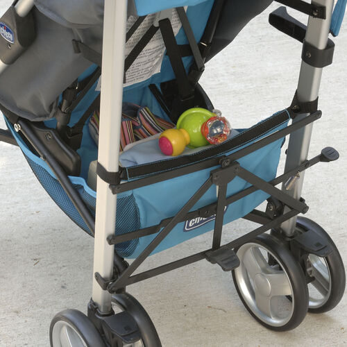 The roomy storage basket on the Liteway Plus Stroller has space for all of baby's necessities