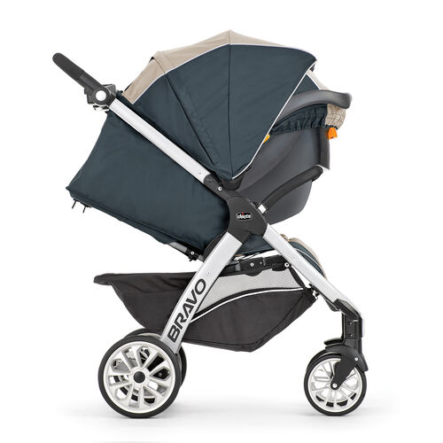 The Bravo Travel system in car seat mode includes a extended canopy for full coverage
