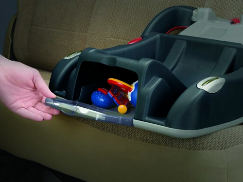 Store pacifiers and other necessities in your KeyFit 30 infant car seat base with a convenient storage compartment