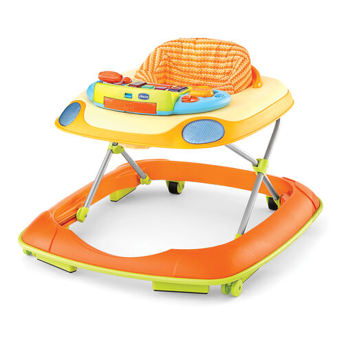 """Chicco Dance Walker in """"Happy Orange"""" - Bright colored orange and yellow base with orange patterned seat fabric"""