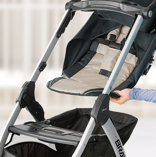 Removable seat pad converts the Bravo Trio Stroller to lightweight KeyFit Carrier