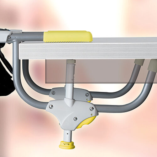 Rubber clamps on the Caddy Hook-On Chair ensure a secure installation on the table