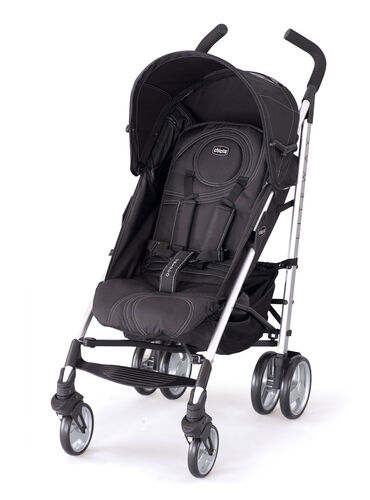 Chicco Liteway Stroller in monochrome black with light gray accent stitching - Orion