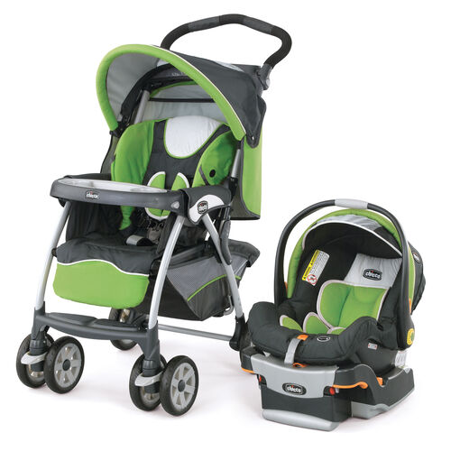 Light green and dark gray Chicco Cortina Stroller and KeyFit 30 Infant Car Seat - Midori