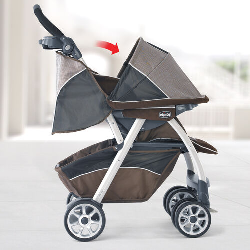Reversible canopy on Chicco Cortina Magic Stroller