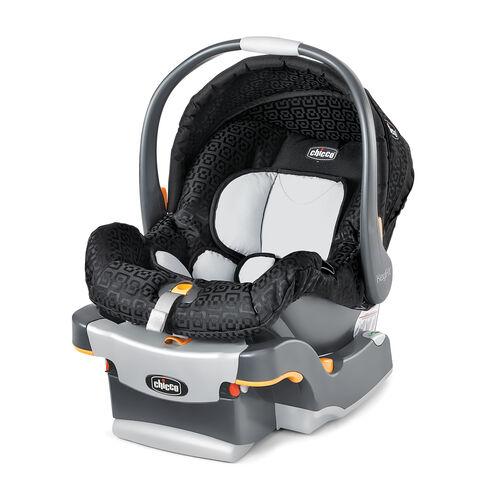 Chicco KeyFit Infant Car Seat and Base in black Ombra fashion with geometric rounded square fabric detail