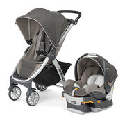 Chicco Bravo Trio Travel System, Papyrus -  stroller and KeyFit 30 Infant Car Seat in neutral earthy beige
