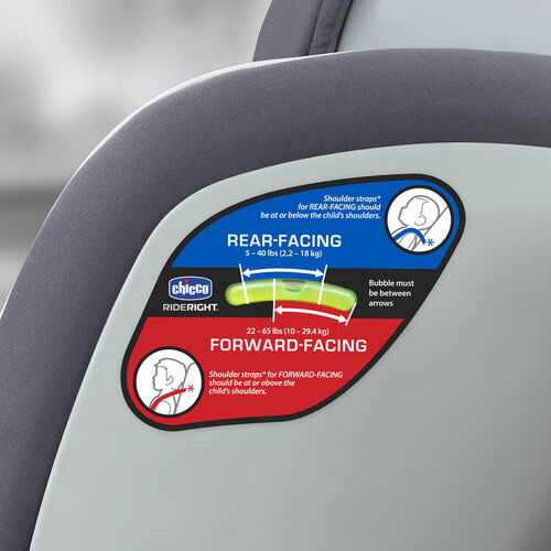 Ensure a proper installation with bubble levels on the side of the NextFit Convertible car seat