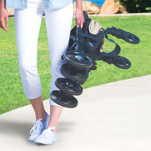 The Liteway stroller features a 3D compact fold for easy traveling and storage