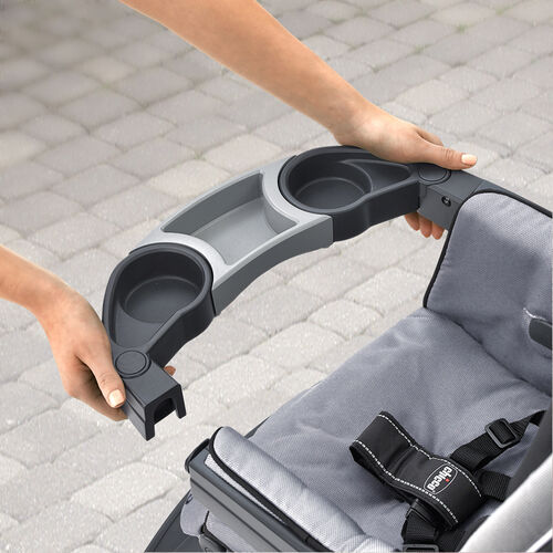 The Neuvo Stroller's child's tray features two cupholders and an indented area for snacks or toys