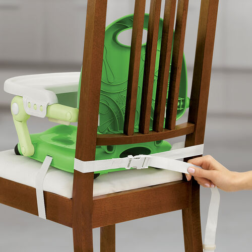 Fastening the Pocket Snack Booster Seat to the chair with attachment straps