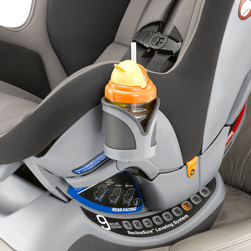 Cup holder on NextFit Convertible Car Seat keeps beverages within reach