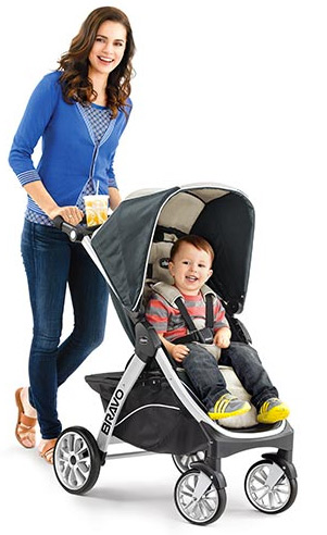 Mother pushing baby in Chicco stroller