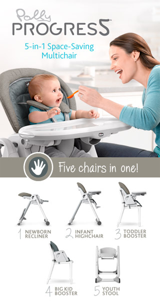 Intoducin the space saving Progres5 Highchair by chicco