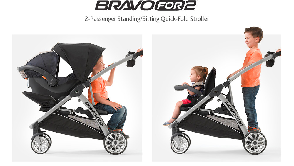 Just like the single-passenger Bravo® Stroller, BravoFor2™ is designed to be best in class, providing dual riding functionality and compact maneuverability.
