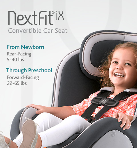 The NextFit iX convertible car seat includes added features including an easier harness tightener for parents to secure their child properly with ease.